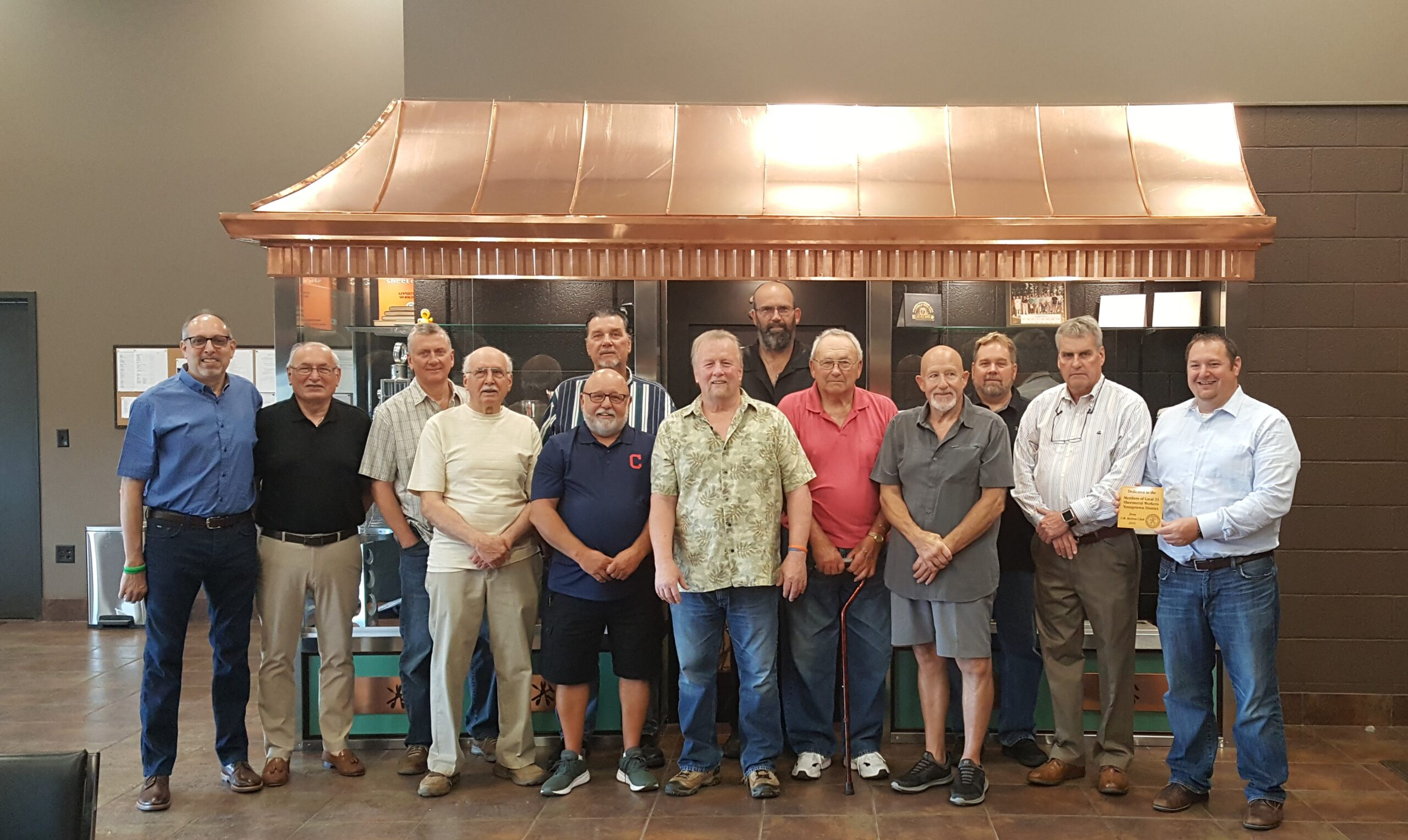 2019 Youngstown Retiree's Club at the Showcase Dedication. From Left to Right: George Kirally Jr., George Kirally Sr., Mike Yurchison, Joe Kirally, George Matyas (Front), Mike Lovrinoff (back), Ken Bailey, Scott Durr, Sam Durr Sr., Joe Romeo, Bill Kuebler, Larry McQuillan, Business Agent, Jesse Wright