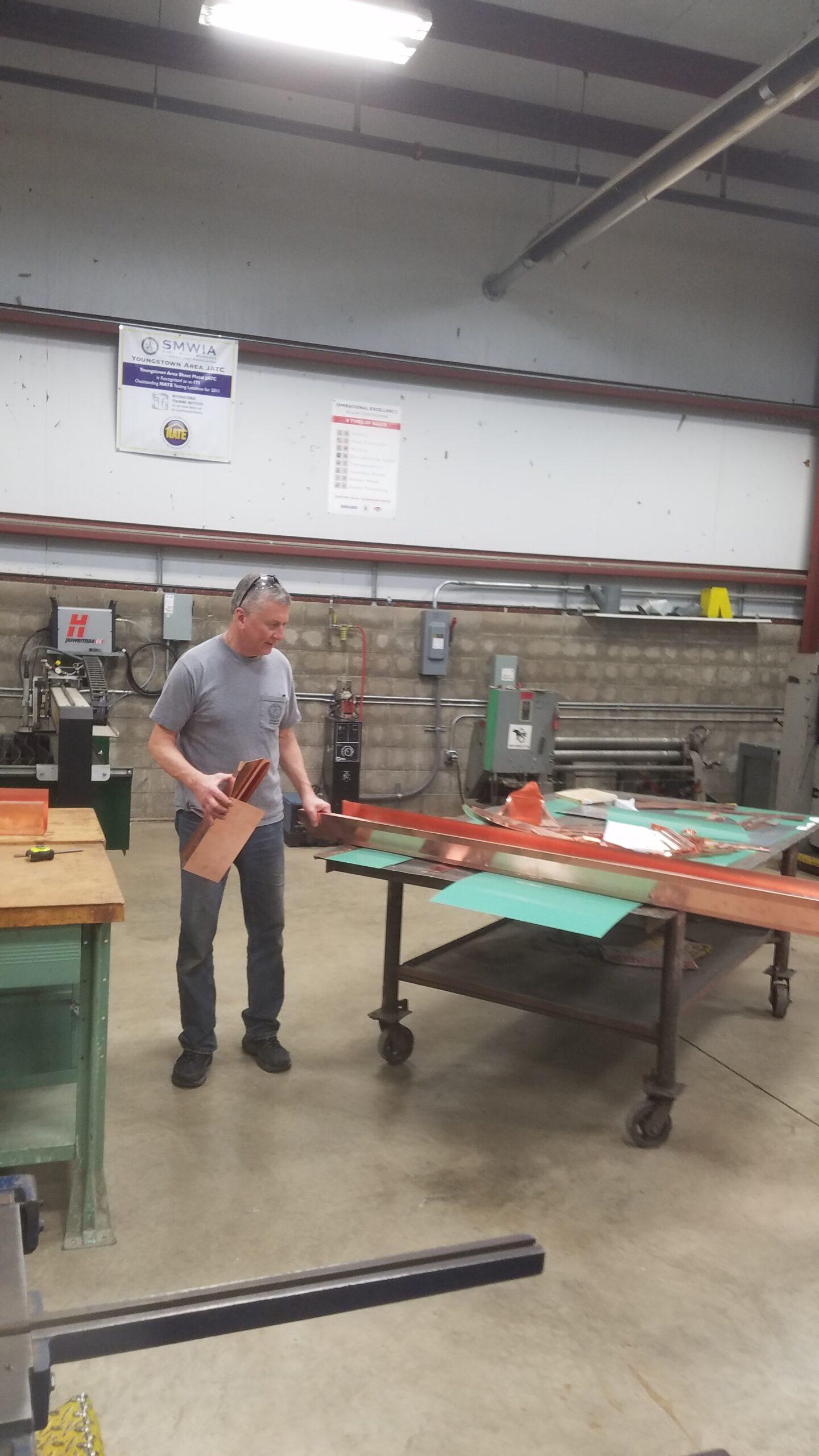 mike making copper gutter