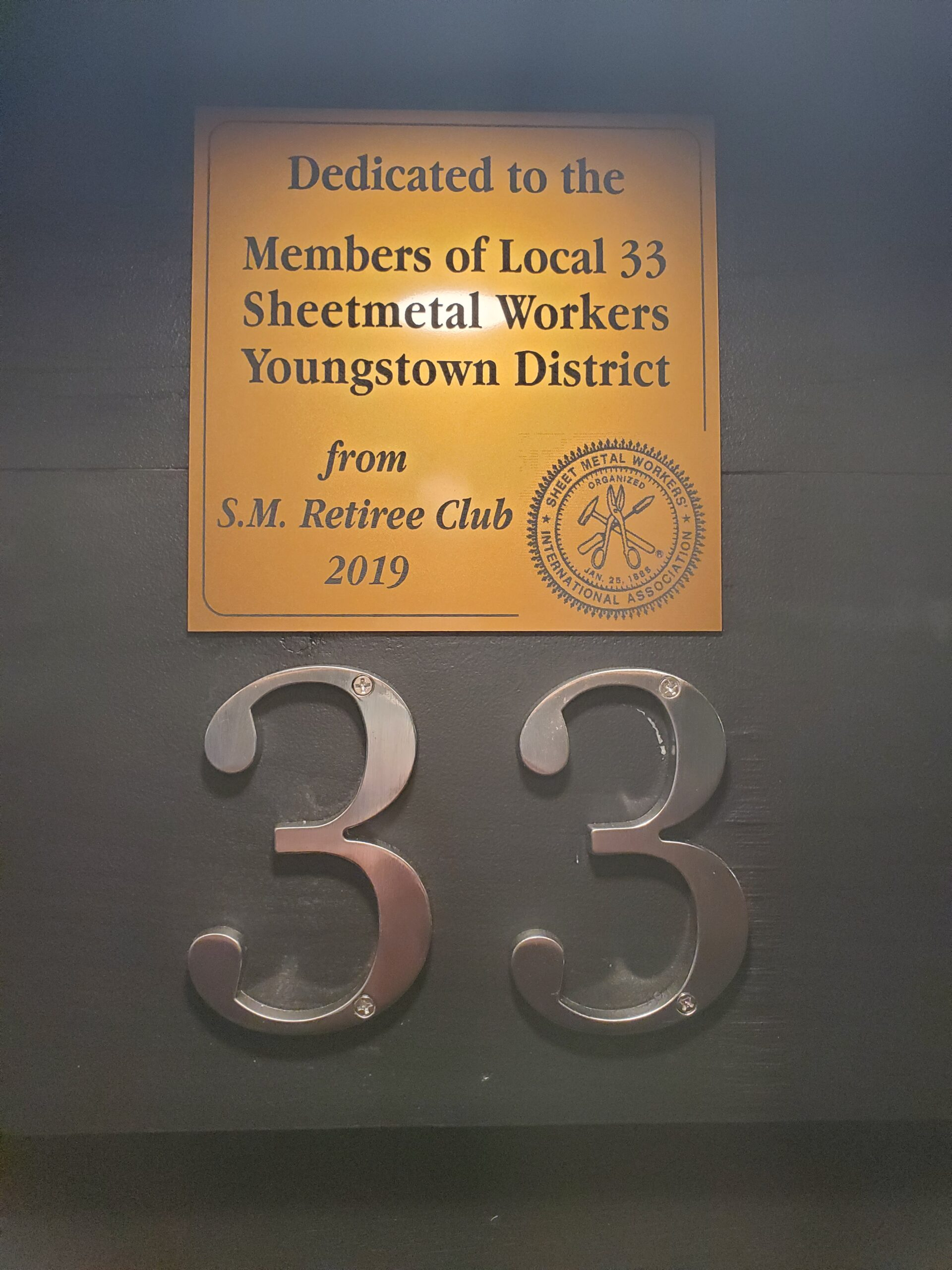 Youngstown Retirees Dedication Plaque.